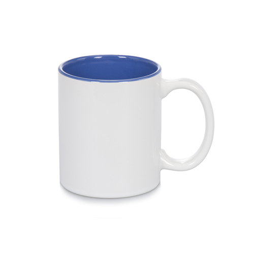 11oz White with Cambridge Blue Inner Colour Sublimation Coffee Mugs Carton of 36
