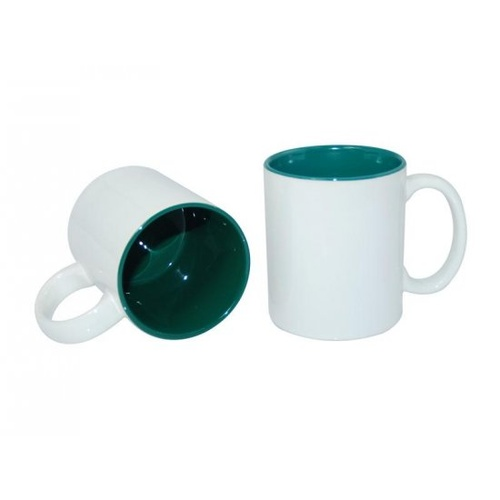 11oz White with Dark Green Inner Colour Sublimation Coffee Mugs Carton of 36