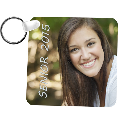"Unisub 5524 Gloss White FRP Keychain - Square 2 Sided - 2.25"" x 2.25"""